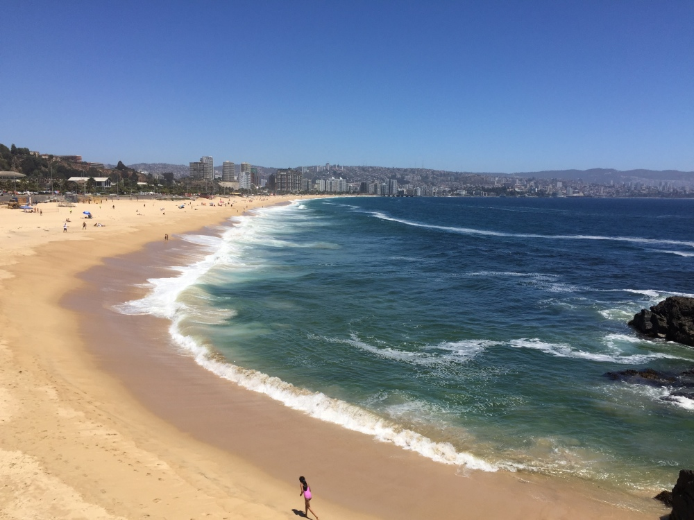 a beautiful sandy beach with waves crashing on the shore. The water is quite blue and there is a larger city in the background.